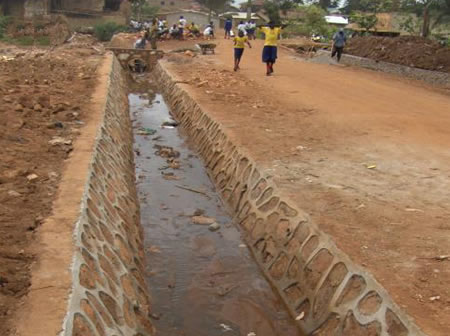 Lining of drains - Kawaala road in Kawempe Division
