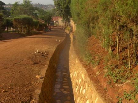 Lining of drains along Froebel road in Nakawa Division