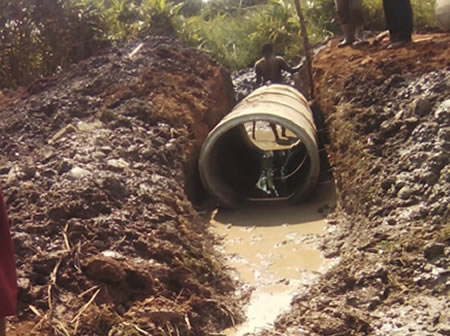 Drainage thorugh  Culverts in Kikaaya-Wakiso District